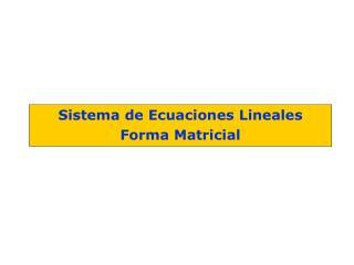 Sistema de Ecuaciones Lineales Forma Matricial