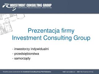 Prezentacja firmy  Investment Consulting Group