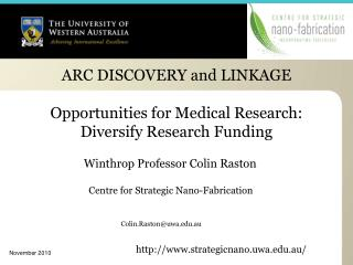 ARC DISCOVERY and LINKAGE  Opportunities for Medical Research: Diversify Research Funding