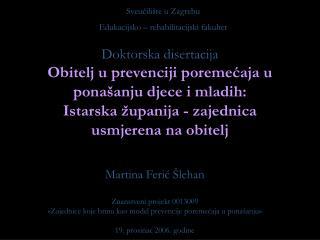 Martina Ferić Šlehan Znanstveni projekt 0013009