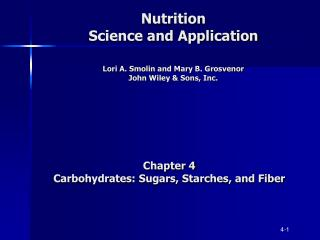 Nutrition Science and Application   Lori A. Smolin and Mary B. Grosvenor John Wiley  Sons, Inc.