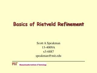 Basics of Rietveld Refinement