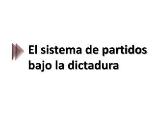 El sistema de partidos bajo la dictadura