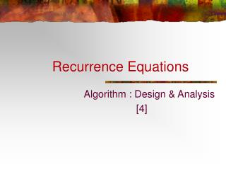 Recurrence Equations