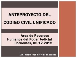 Anteproyecto DEl  CODIGO CIVIL UNIFICADO