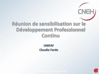 Réunion de sensibilisation sur le Développement Professionnel Continu UNIFAF  Claudie Fardo