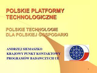 POLSKIE PLATFORMY  TECHNOLOGICZNE POLSKIE TECHNOLOGIE  DLA POLSKIEJ GOSPODARKI