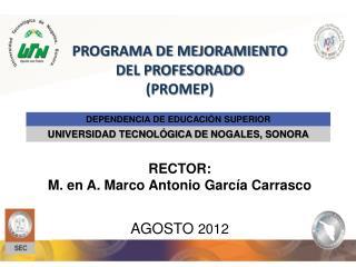 PROGRAMA DE MEJORAMIENTO  DEL PROFESORADO  (PROMEP) RECTOR:
