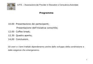 A.P.E. – Associazione dei Provider in Education e Consulenza Aziendale