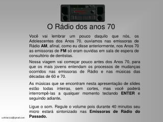 O Rádio dos anos 70