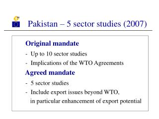 Pakistan – 5 sector studies (2007)
