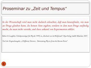 """Proseminar zu  """"Zeit  und  Tempus"""""""