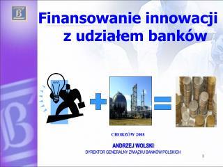 Finansowanie innowacji z udziałem banków CHORZÓW 2008         ANDRZEJ WOLSKI