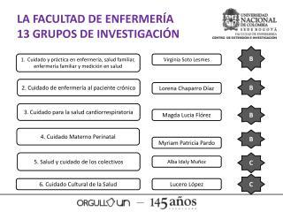LA FACULTAD DE ENFERMERÍA  13 GRUPOS DE INVESTIGACIÓN