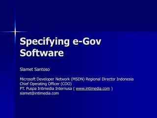 Specifying e-Gov Software