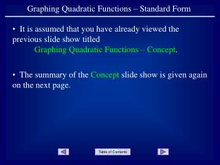 Graphing Quadratic Functions – Standard Form