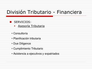 División Tributario - Financiera