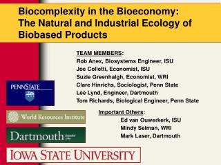 Biocomplexity in the Bioeconomy:  The Natural and Industrial Ecology of Biobased Products