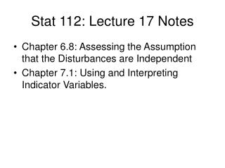 Stat 112: Lecture 17 Notes