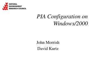 PIA Configuration on Windows/2000