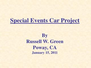 Special Events Car Project