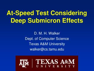 At-Speed Test Considering Deep Submicron Effects