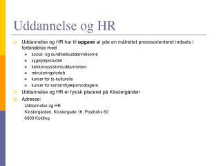 Uddannelse og HR