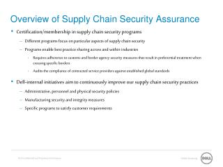 Overview of Supply Chain Security Assurance