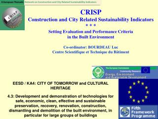 EESD / KA4: CITY OF TOMORROW and CULTURAL HERITAGE