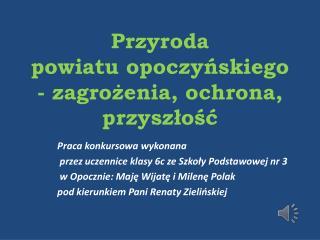 Przyroda  powiatu opoczyńskiego - zagrożenia, ochrona, przyszłość