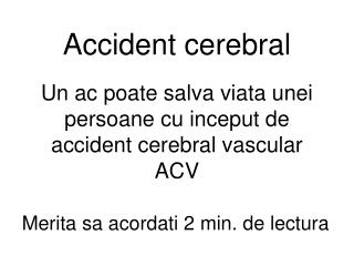 Accident cerebral