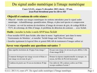 Du signal audio numérique à l'image numérique