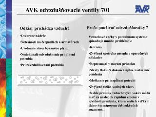 AVK  odvzdušňovacie ventily  701