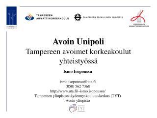 Avoin Unipoli  Tampereen avoimet korkeakoulut yhteistyössä