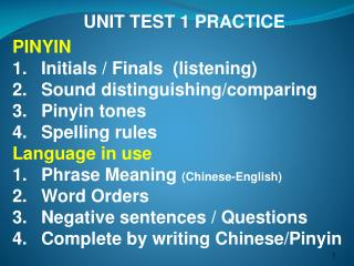 UNIT TEST 1 PRACTICE