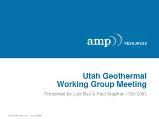 Utah Geothermal Working Group Meeting