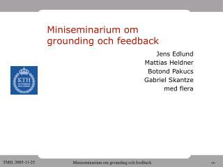 Miniseminarium om  grounding och feedback