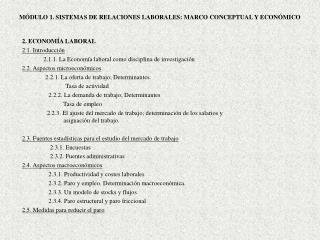 MÓDULO 1. SISTEMAS DE RELACIONES LABORALES: MARCO CONCEPTUAL Y ECONÓMICO