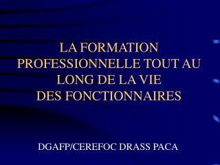 LA FORMATION PROFESSIONNELLE TOUT AU LONG DE LA VIE  DES FONCTIONNAIRES