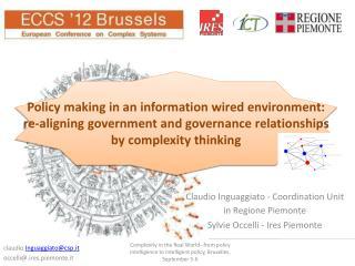 Claudio Inguaggiato -  Coordination Unit  in Regione Piemonte Sylvie Occelli -  Ires  Piemonte