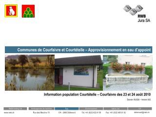 Communes de Courfaivre et Courtételle – Approvisionnement en eau d'appoint