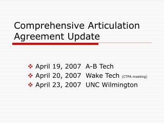 Comprehensive Articulation Agreement Update