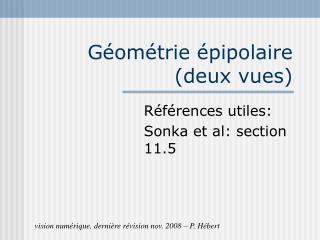 Géométrie épipolaire (deux vues)
