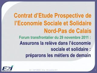 Contrat d'Etude Prospective de l'Economie Sociale et Solidaire Nord-Pas de Calais