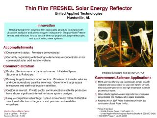 Thin Film FRESNEL Solar Energy Reflector  United Applied Technologies Huntsville, AL