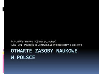 Otwarte zasoby naukowe  w Polsce