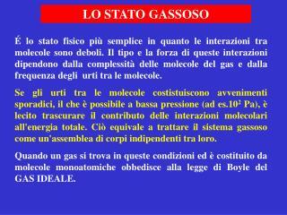 LO STATO GASSOSO