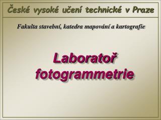 Laboratoř fotogrammetrie