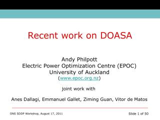 Andy Philpott Electric Power Optimization Centre (EPOC) University of Auckland ( epoc.nz )