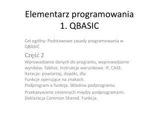 Elementarz programowania  1. QBASIC